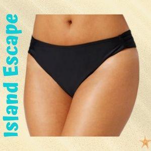 Plus Size Solid Ruched-tab Black Bikini Bottom